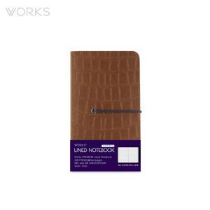 웍스 프리미엄 라인드 노트북 미니(92x151mm)-브라운(WAN-1333)
