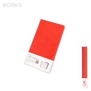웍스 라인드 노트북S 포켓(슬림)(86x165mm)-S401 선셋레드(WAN-1164)
